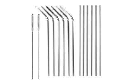 10.5 inch Stainless Steel Drinking Straws Set(6 straight and 6 bend) 1c2001cb-0fd6-453d-ad4f-8139721a8cd3