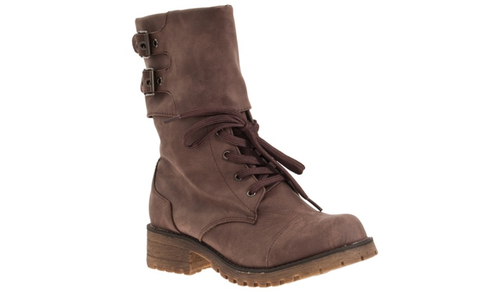 Riverberry Women's 'Login' Combat-style Fashion Boots, Taupe