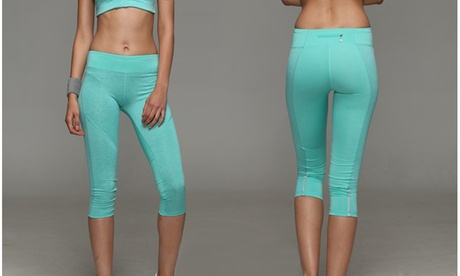 Women's Sport Tights Workout Comfort Leggings - AquaBlue And Hot Pink