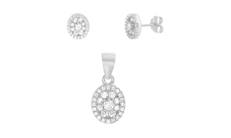 Sterling Silver CZ Oval Pendant & Post Earring Set b203bc58-11a2-47d7-ace5-33c2d7736e00