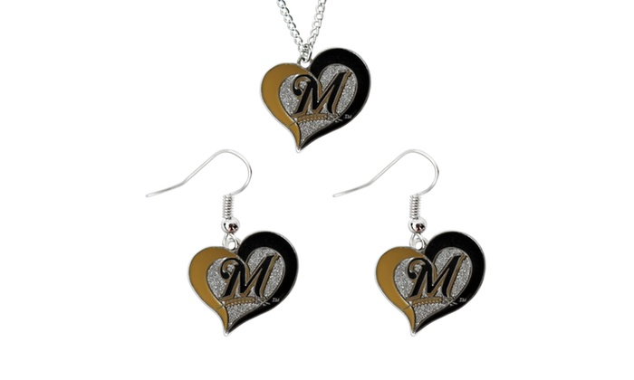 MLB Milwaukee Brewers Swirl Heart Necklace and Dangle Earring Set