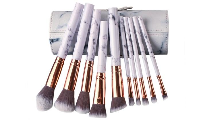 28ee6de206 Professional White Marble Makeup Brushes Set 10 Pieces 7x2.75x7 Multi-color