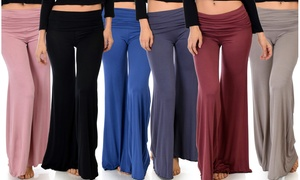 Lyss Loo Women's Soft & Cozy Fold-Over Palazzo Flare Pants. Plus Sizes Available.