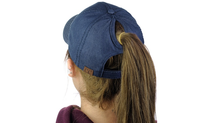 C.C Ponycap Messy High Bun Ponytail Adjustable Cotton Baseball Cap Hat 7c8acb73969c