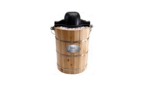 6 qt Old Fashioned Pine Bucket Electric Manual Ice Cream Maker photo