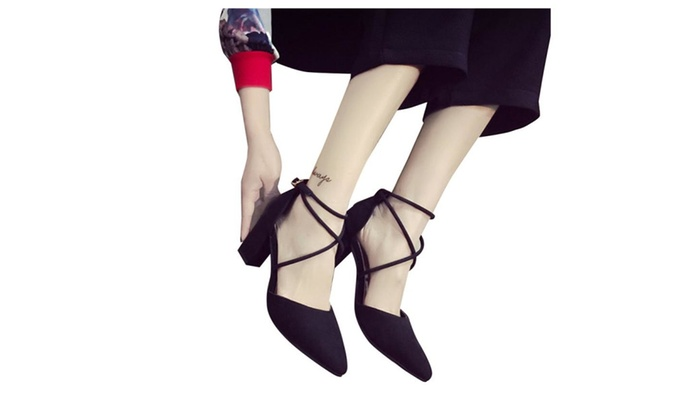 Women's Low Heel Ankle Strap Pointed Toe Pumps Shoes