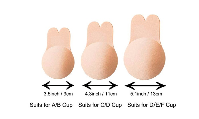 Nippleless Covers Sticky Silicone Reusable Breast Lift Nipple Cover Pasties Bra for Women Best Diameter 4.3inch(Pink)
