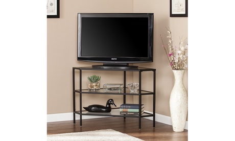 Niles Metal/Glass Corner TV Stand - Black a4d87c80-b52d-4309-a12a-cb731e8568de