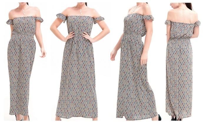 Off-the-shoulder Printed Maxi Dress