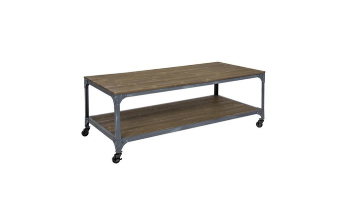 Charmant Industrial Style Wheeled Coffee Table | Groupon