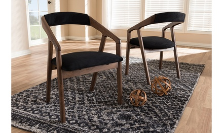 Wendy Black Velvet and Walnut Wood 2-piece Dining Chair Set