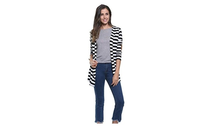Women White Stripes Long Sleeve PU Elbow Water Fall Cardigan