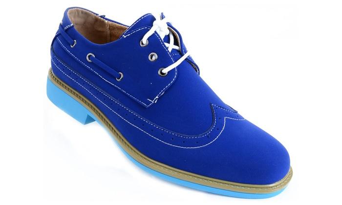 Men's Wing-tip Vegan Suede Rockabilly Casual Dress Blue Oxford Shoes