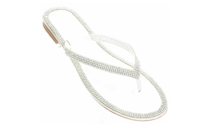 e6680f90cf85 White Sparkly Rhinestone Wedding Bridal Flip Flop Flat Sandal