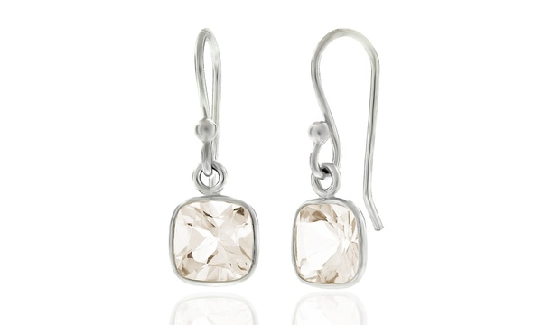 da3696929 Deal Options. Closeout: 3.5 CTW Cushion Cut Rose Quartz Drop Earrings .925  Sterling Silver