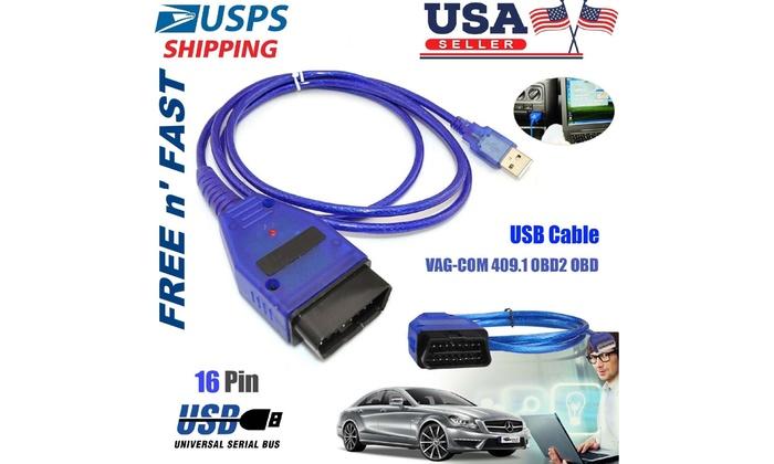 USB Cable KKL VAG-COM 409.1 OBD2 II OBD Diagnostic Scanner for VW//Audi//Seat VCDS