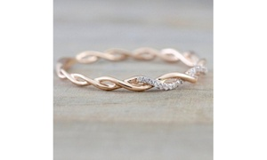 Women's Fashion 14K  Rose Gold Plated Ring with Free Twisted Bracelet