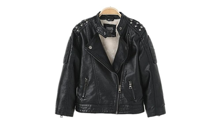 a2eb211db2c8 LJYH Boy s Stand Collar Rivet Faux Motorcycle leather Jacket