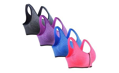 4 Pack Women's Zip Front Sports Bras Wireless Yoga Sports Bras 6fa6a7e8-6f3f-4607-9892-a7a068f7cbe7