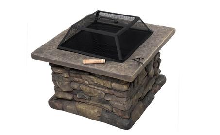 "New 29"" Outdoor Patio Firepit w/ Matte Steel Fire Bowl, Stone Base ca3f78af-c34b-4939-8114-16e178b64022"