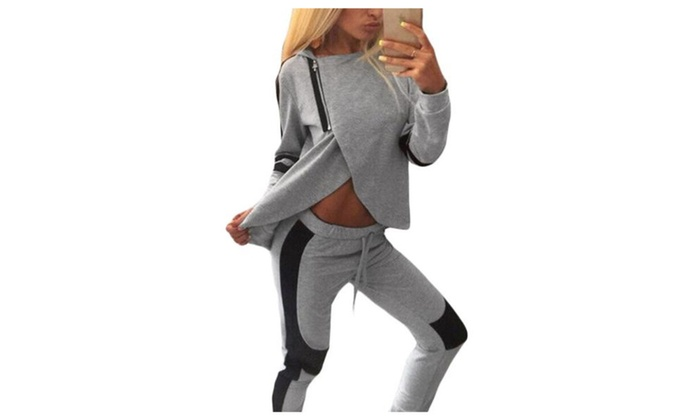 Women's Solid Casual Long Pullover Pull On Style Tracksuits - Gray / One Size
