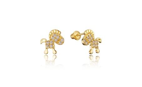 14k Gold Plated Brass Baby Horse Childrens Screwback Girls Earrings
