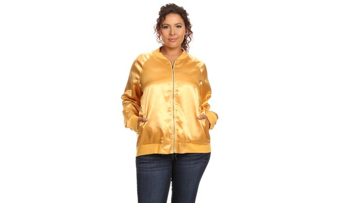 Xehar Women's Plus Size Casual Lightweight Gold Bomber Jacket