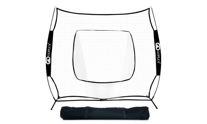 7X7′ Baseball Softball Practice Hitting Training Net Bow Frame black