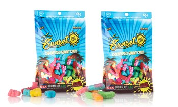 High Potency Organic CBD Infused Sour Gummy Packs 300MG by Sunset CBD