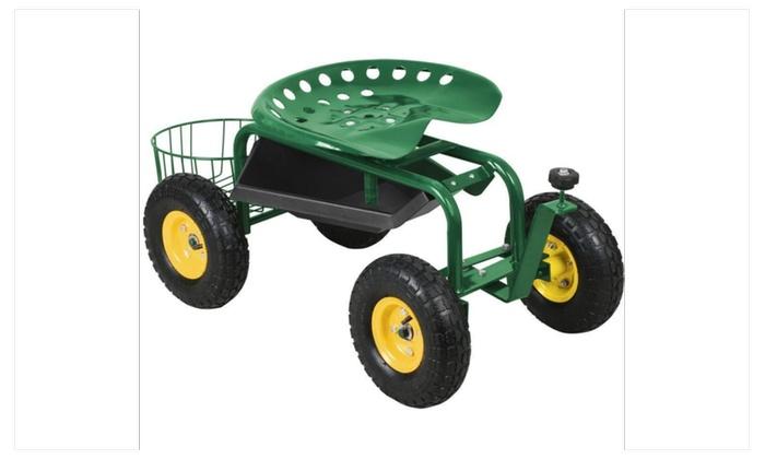 Green Heavy Duty Garden Cart Rolling Work Seat Tool Tray Yard NEW