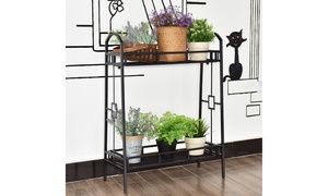 Heavy Duty 2 Tier Metal Flower Pot Rack Plant Display Stand Shelf Holder Decor