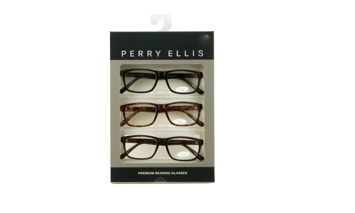 30fc89c2ee Perry Ellis Mens 3 Multi Pack Plastic Reading Glasses Black Demi ...