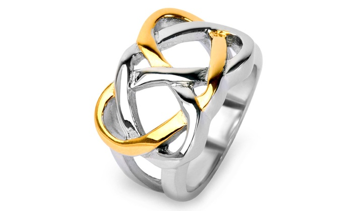 Groupon Goods: Gold Plated Stainless Steel Celtic Love Knot Ring