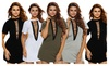 Hellochic: Hellochic Womens Lace Up Front Half Sleeves Casual Loose Tshirt Dress