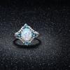 White Fire Opal and Aquamarine Ring