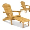 Wood Adirondack Chair Foldable w Pull Out Ottoman Patio Deck Furniture