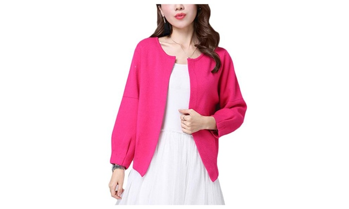Women's Casual Open Front Loose Fit 3/4 Sleeve Cardigan