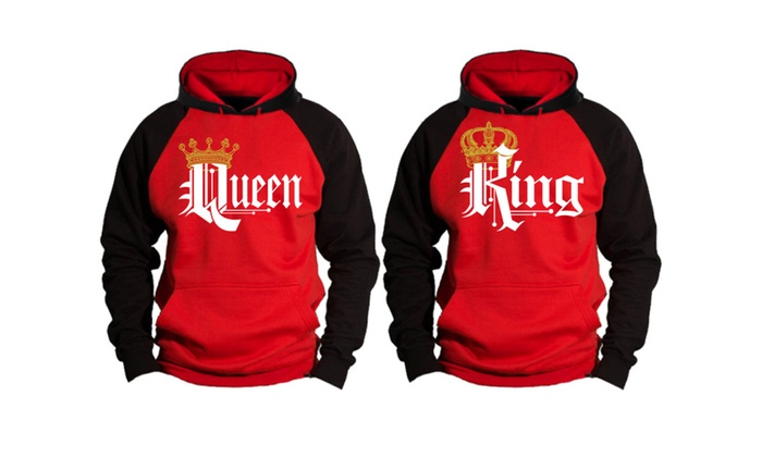 King and Queen Couple Matching Two Tone Hoodies
