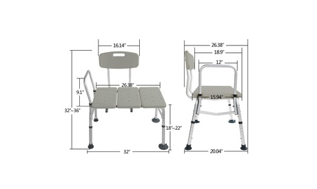 Shower Chair Plastic Tub Transfer Bench with Adjustable Backrest Gray