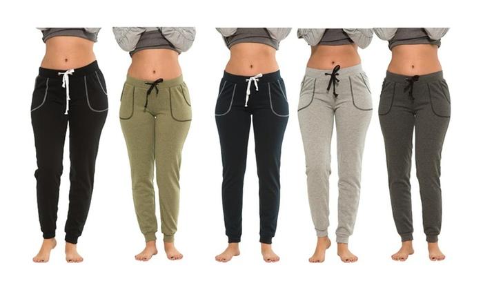5508cc4321 Coco Limon Women's Fleece Lined Joggers 5-Pack (Plus Sizes Available)