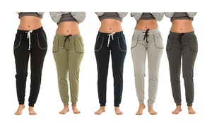 Coco Limon Women's Fleece Lined Joggers 5-Pack (Plus Sizes Available)