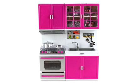 My modern kitchen stove oven sink battery op toy kitchen for Kitchen set groupon