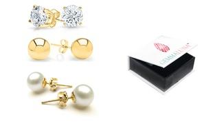 Genuine White Topaz, Pearl and Solid Italian Ball Stud Earrings Set (3-Pack)
