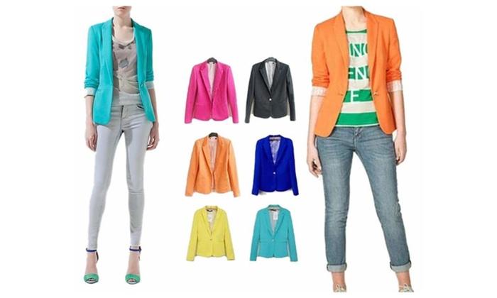 Women's One Button Casual Office Blazer Jacket