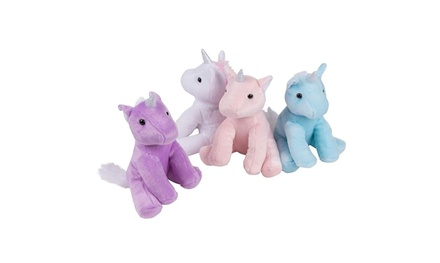 "Blue Panda 4-Pack 7"" Plush Unicorn Toy Stuffed Animal for Kids Baby Shower Gifts"