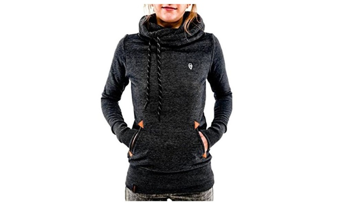 Women's High Collar Hoodie Lightweight pullover Sweatshirts