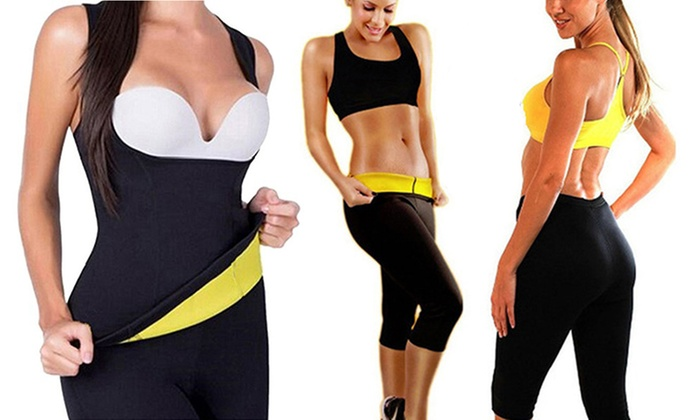 2a4d80339fe67 Hot Sweat Shaper Set Waist Trainer Tank Vest with Thigh Slim Panties