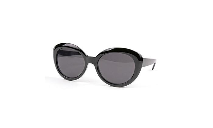 Retro Thick Vintage Fashion Cat eye Round Sunglasses P2125 - Black