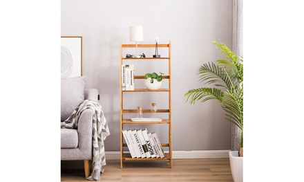 4-Shelf Bamboo Ladder Shelf Bookshelf Storage Shelves Stand Home
