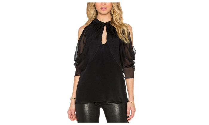 CitySky: Women's Solid Slim Casual General Pullover Chiffon Blouse